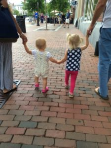 Walking in Portsmouth's Market Square. Ice cream at Annabelle's is in our future.