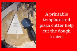 Tip: use a pizza cutter and template.