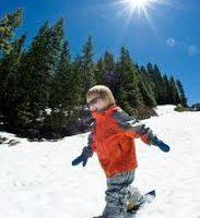 toddler snowshoeing in winter