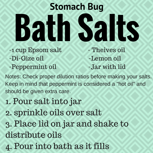 bath salts are a great way to battle the stomach bug with essential oils