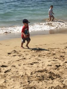 Playing at Sand Beach in Acadia Park.