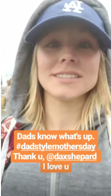 """actress kristen bell touts the benfits of celebrating mother's day """"dad style"""""""