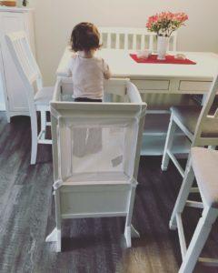 toddler on kitchen helper