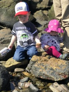 young children in tide pool
