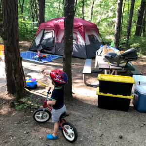 campsite with toddler