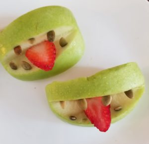 healthy halloween snack option - apple monster mouths