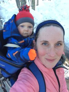 winter hike with baby