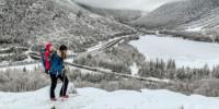 Momand Child hike in snowy peak