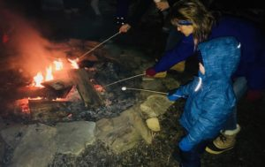 winter activities on the Seacoast - kids roasting s'mores after a sleigh ride