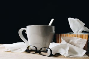 Man Flu remedies: cup of tea, box of tissues
