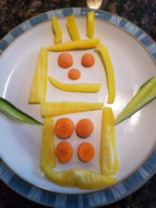 ideas to get kits to eat vegetables -- creative designs with veggies