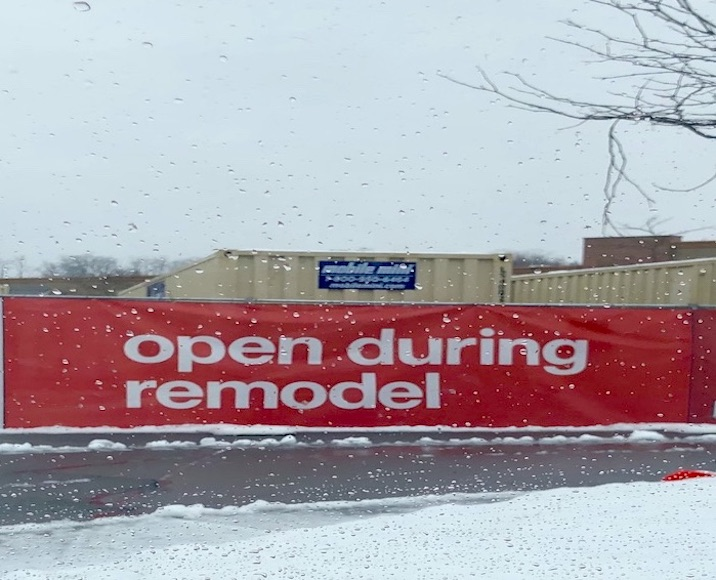 Sign reading Open During Remodel