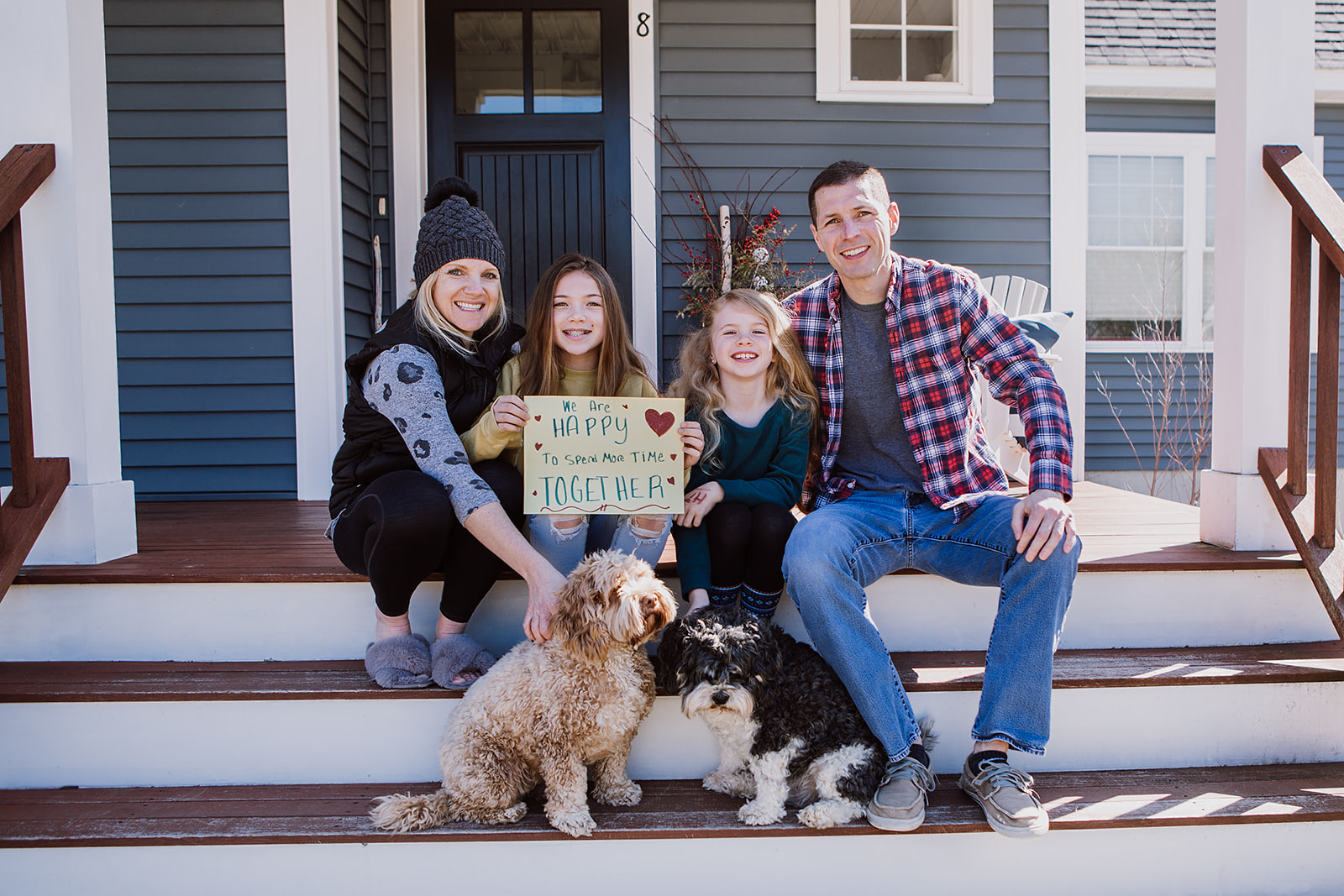 Seacoast Family photography - family on their front steps