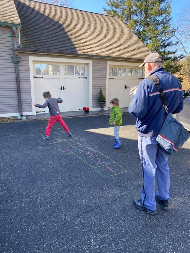 tic tac toe in the driveway with the mailman- Ideas for Homeschooling with Multiple Kids