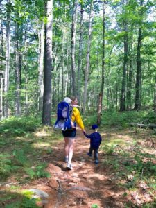 mom and child hike gonic trails
