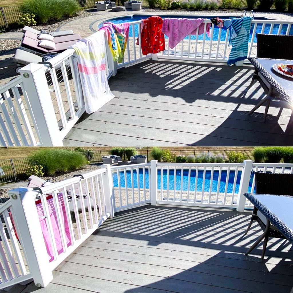 towel rack for outdoor living and entertaining
