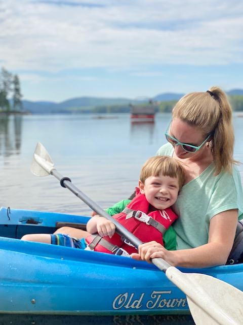 mom and son in kayak