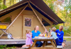 family at huttopia glamping campground