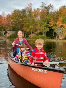 Mom and kids canoe