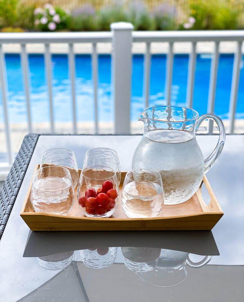 plastic pitcher and 5 glasses - must haves for outdoor entertaining
