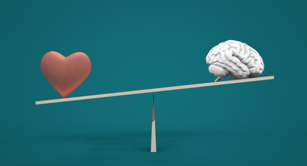 heart and brain on a seesaw - mental health or academic performance