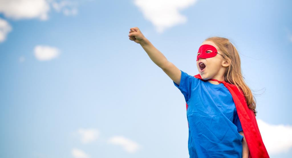 girl in superhero costume - biden's stutter at the debate