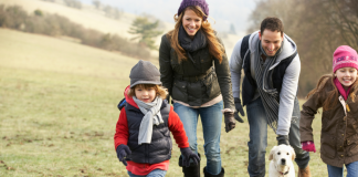 Family on winter hike