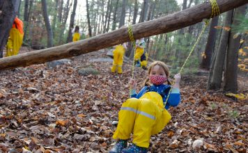child in swing from a tree - benefits of climbing trees for children