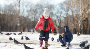 kids in snow outside with birds - birding with kids