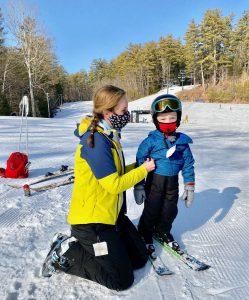 Child and Mom masked at ski slope